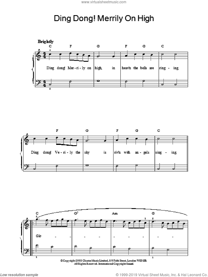 Ding Dong! Merrily On High! sheet music for piano solo, intermediate skill level