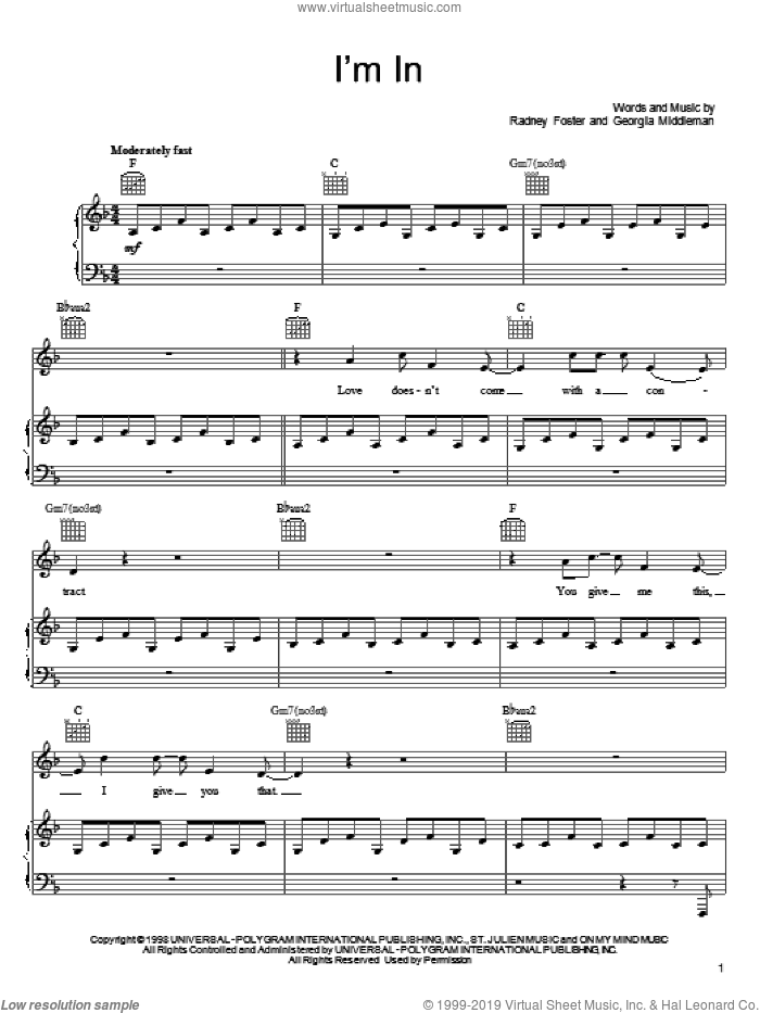 I'm In sheet music for voice, piano or guitar by Radney Foster and Keith Urban