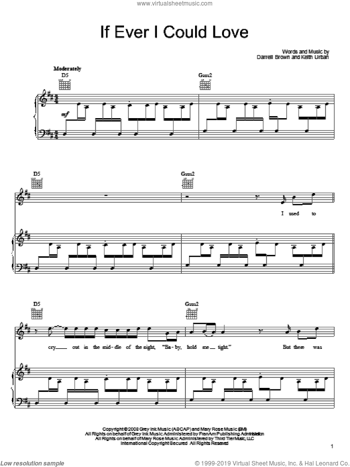 If Ever I Could Love sheet music for voice, piano or guitar by Keith Urban and Darrell Brown, intermediate skill level