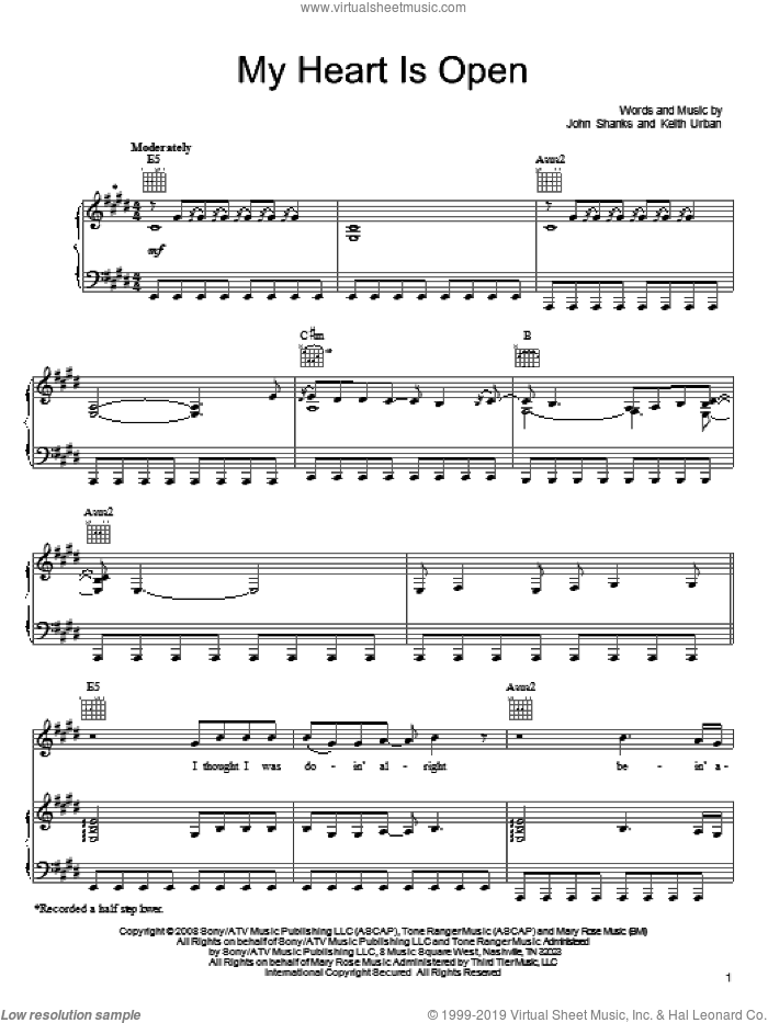 My Heart Is Open sheet music for voice, piano or guitar by Keith Urban and John Shanks, intermediate skill level