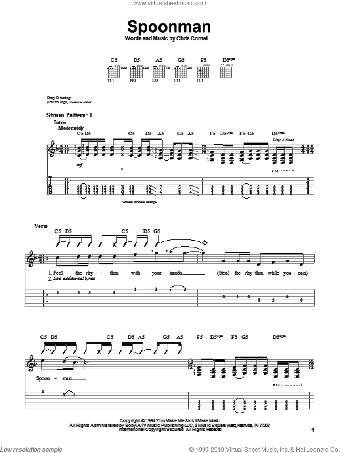 Spoonman sheet music for guitar solo (easy tablature) by Chris Cornell and Soundgarden. Score Image Preview.