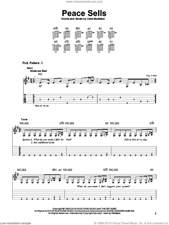 Peace Sells sheet music for guitar solo (easy tablature) by Dave Mustaine and Megadeth. Score Image Preview.