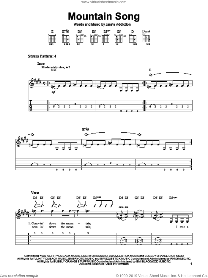 Mountain Song sheet music for guitar solo (easy tablature) by Jane's Addiction