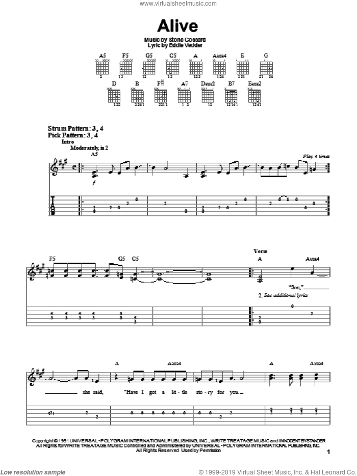 Alive sheet music for guitar solo (easy tablature) by Stone Gossard, Pearl Jam and Eddie Vedder. Score Image Preview.