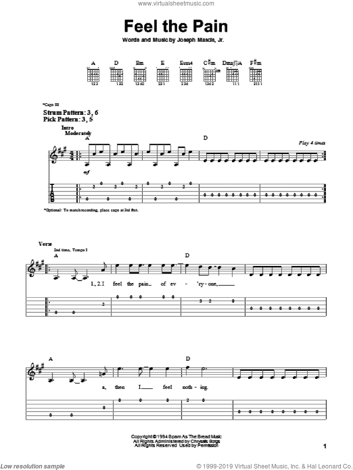 Feel The Pain sheet music for guitar solo (easy tablature) by Dinosaur Jr. and Joseph Mascis, easy guitar (easy tablature)