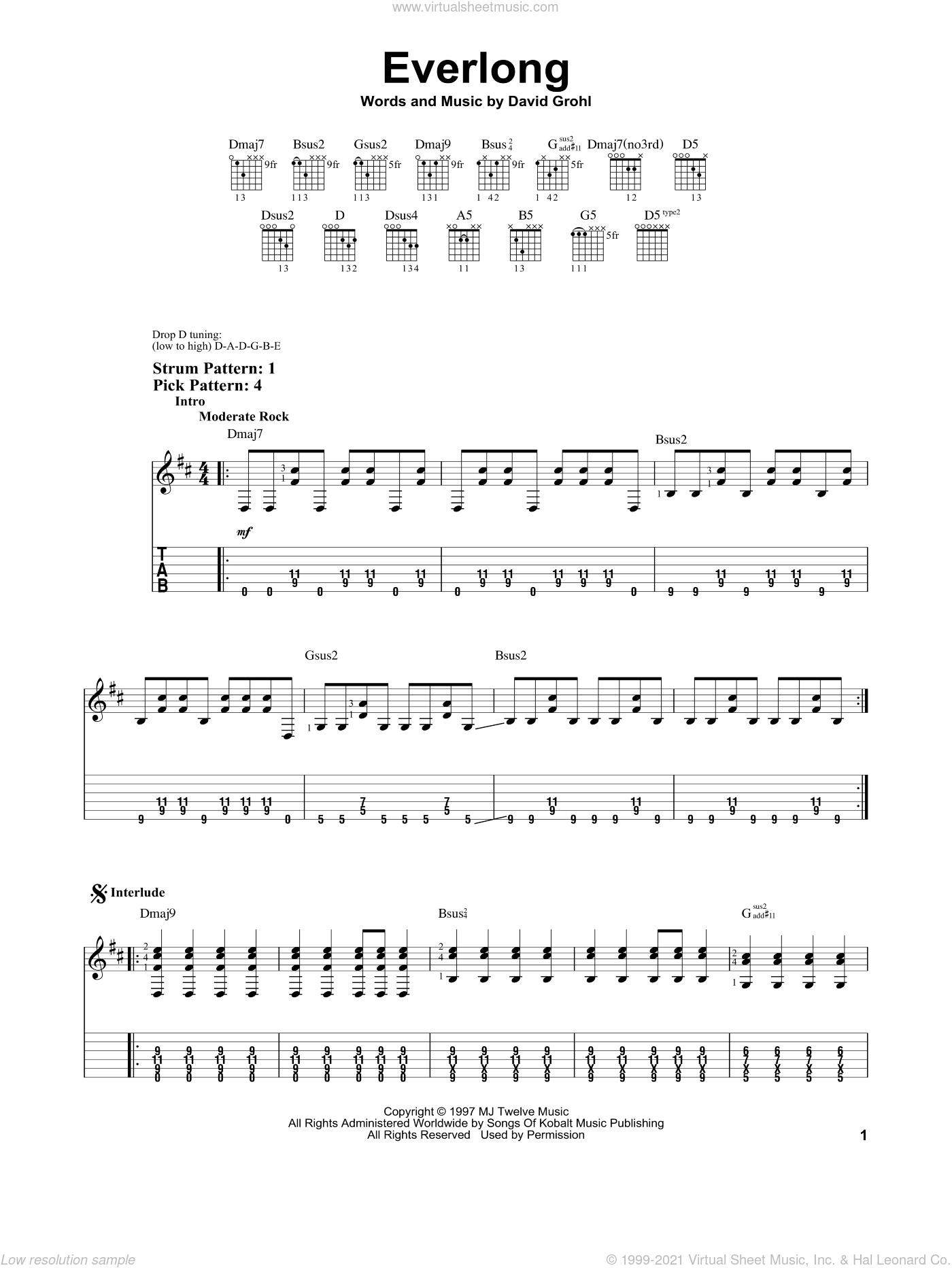 Everlong sheet music for guitar solo (easy tablature) by Foo Fighters and Dave Grohl, easy guitar (easy tablature). Score Image Preview.