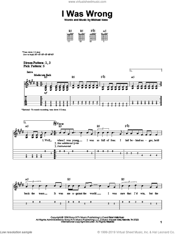 I Was Wrong sheet music for guitar solo (easy tablature) by Michael Ness