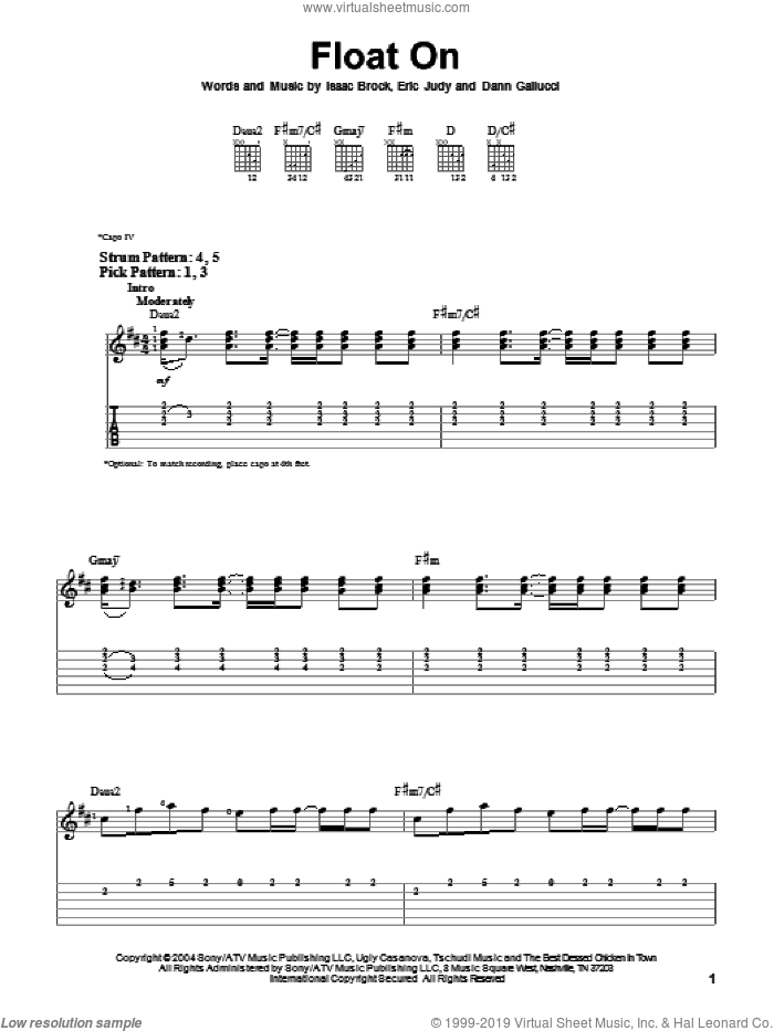 Float On sheet music for guitar solo (easy tablature) by Isaac Brock, Modest Mouse and Dann Gallucci. Score Image Preview.