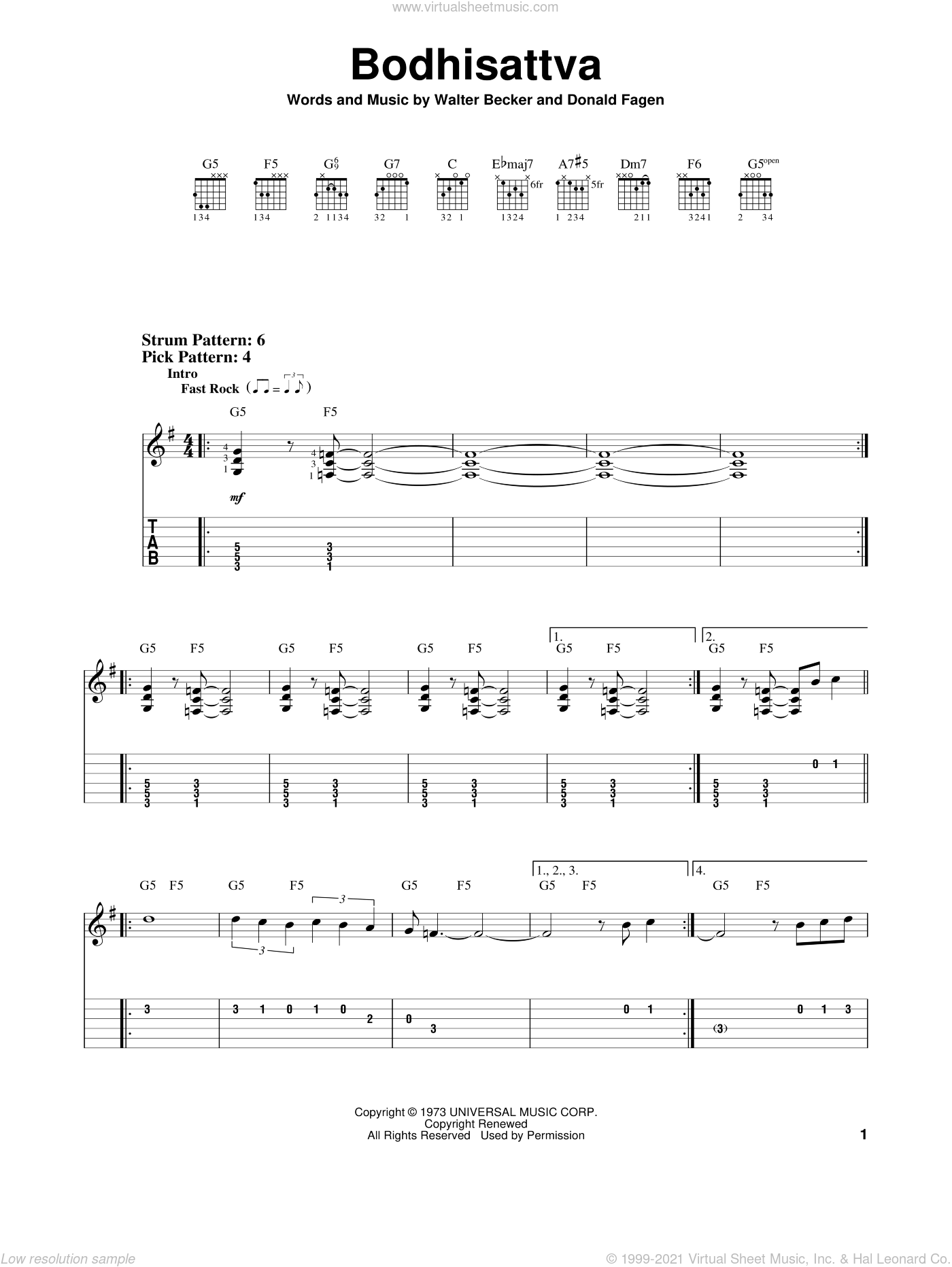 Bodhisattva sheet music for guitar solo (easy tablature) by Walter Becker