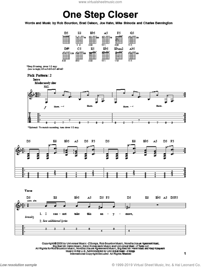 One Step Closer sheet music for guitar solo (easy tablature) by Rob Bourdon