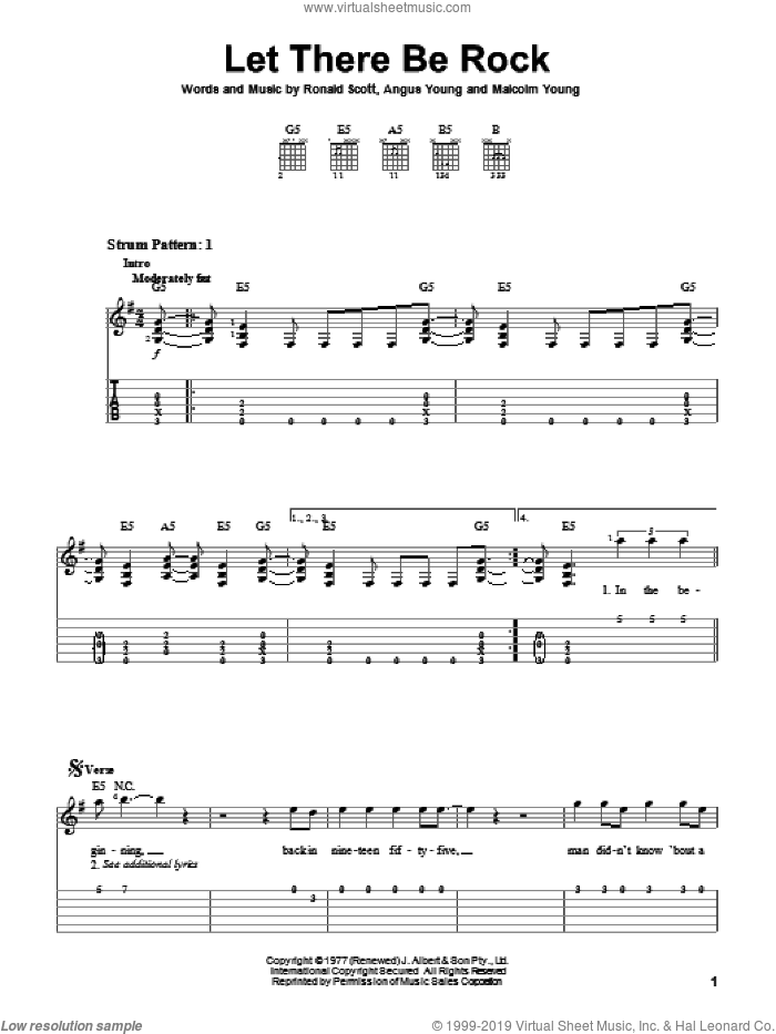 Let There Be Rock sheet music for guitar solo (easy tablature) by AC/DC. Score Image Preview.