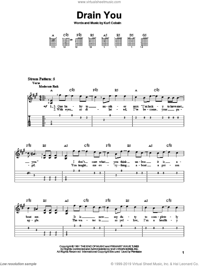 Drain You sheet music for guitar solo (easy tablature) by Nirvana. Score Image Preview.