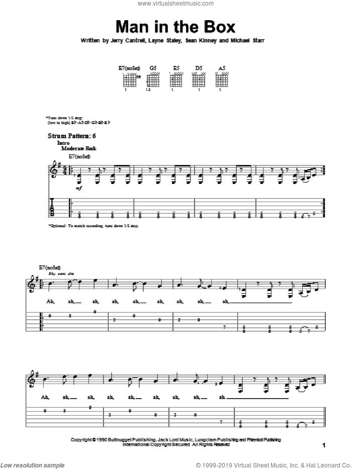 Man In The Box sheet music for guitar solo (easy tablature) by Alice In Chains, Jerry Cantrell, Layne Staley, Michael Starr and Sean Kinney, easy guitar (easy tablature)