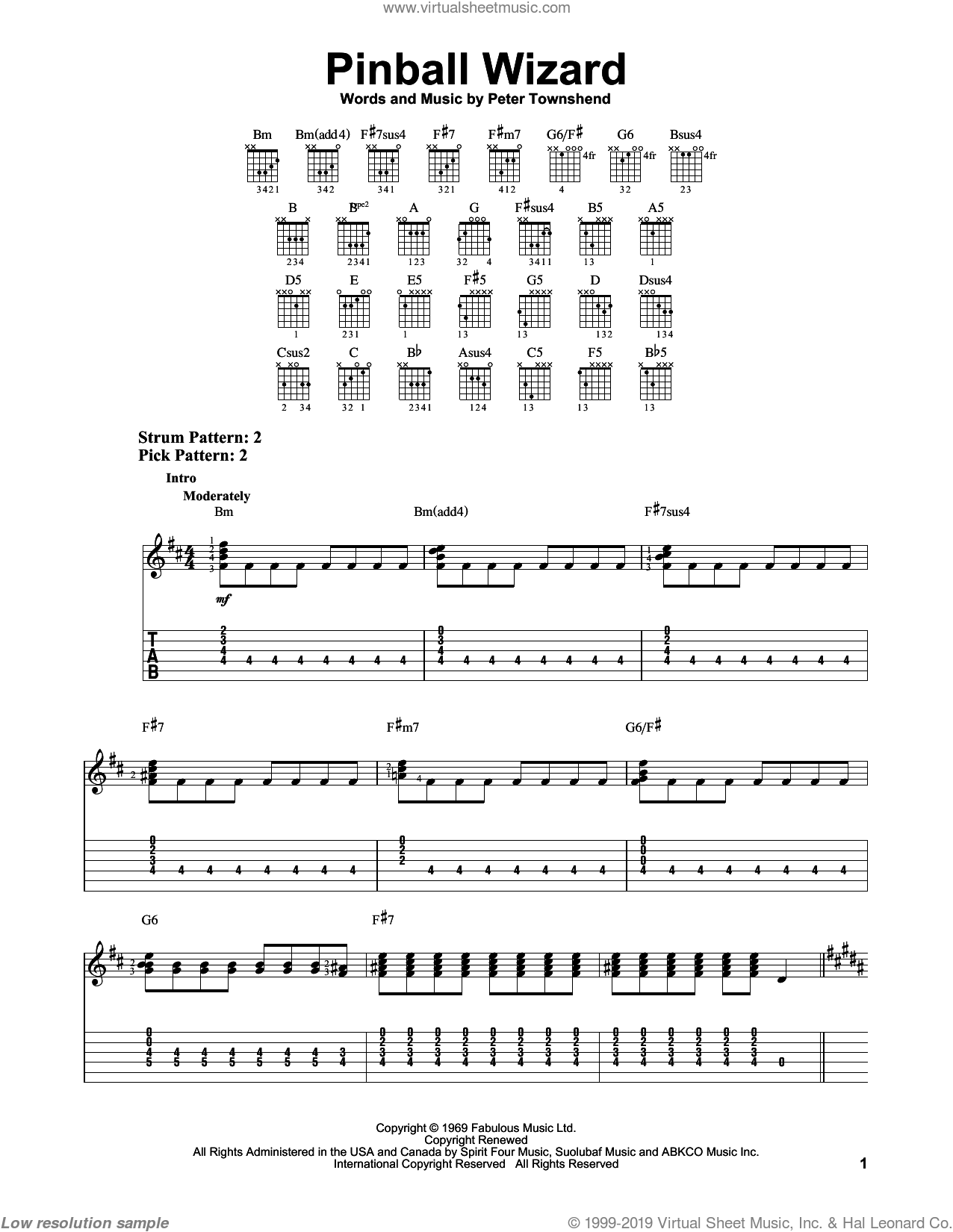 Pinball Wizard sheet music for guitar solo (easy tablature) by Pete Townshend