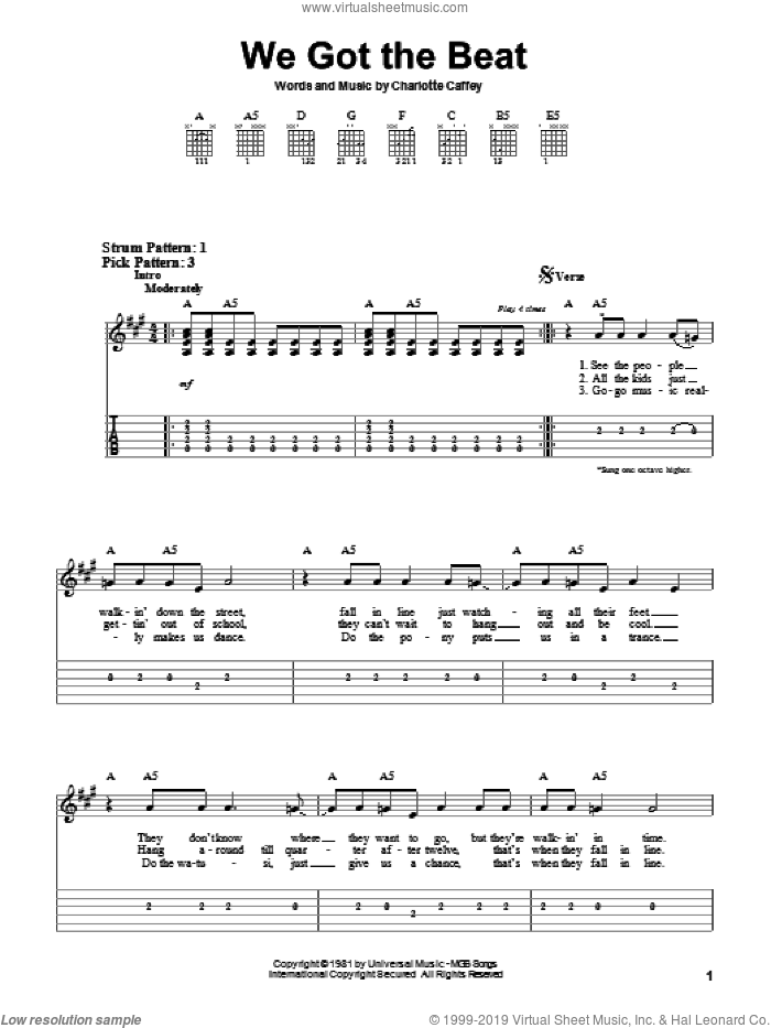 We Got The Beat sheet music for guitar solo (easy tablature) by The Go Go's. Score Image Preview.