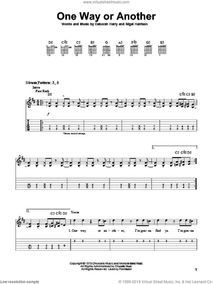 One Way Or Another sheet music for guitar solo (easy tablature) by Blondie, Deborah Harry and Nigel Harrison, easy guitar (easy tablature)