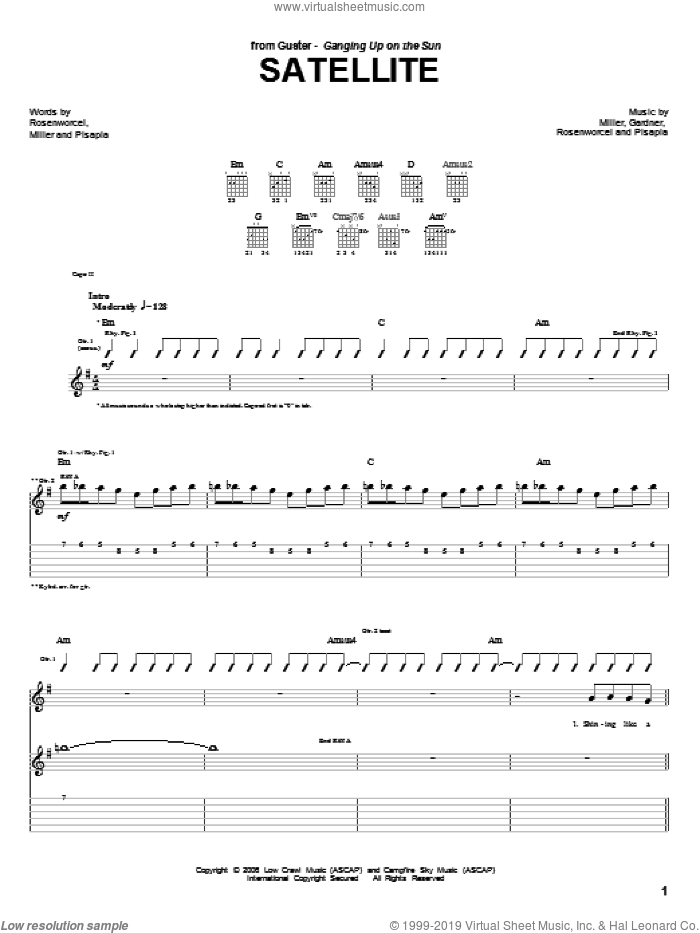 Satellite sheet music for guitar (tablature) by Guster, intermediate. Score Image Preview.
