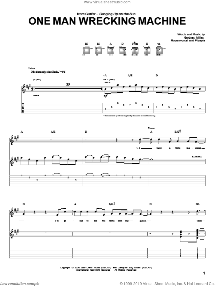 One Man Wrecking Machine sheet music for guitar (tablature) by Guster, Gardner, Pisapia and Rosenworcel, intermediate. Score Image Preview.