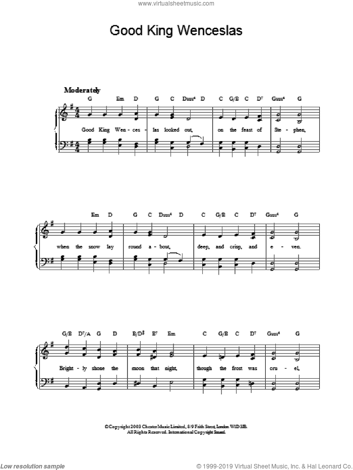 Good King Wenceslas sheet music for piano solo by John Mason Neale, easy. Score Image Preview.