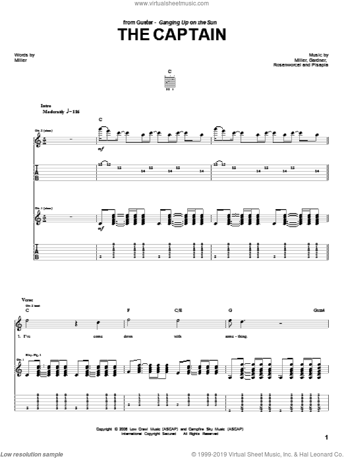 The Captain sheet music for guitar (tablature) by Guster, Garnder, Pisapia and Rosenworcel, intermediate skill level