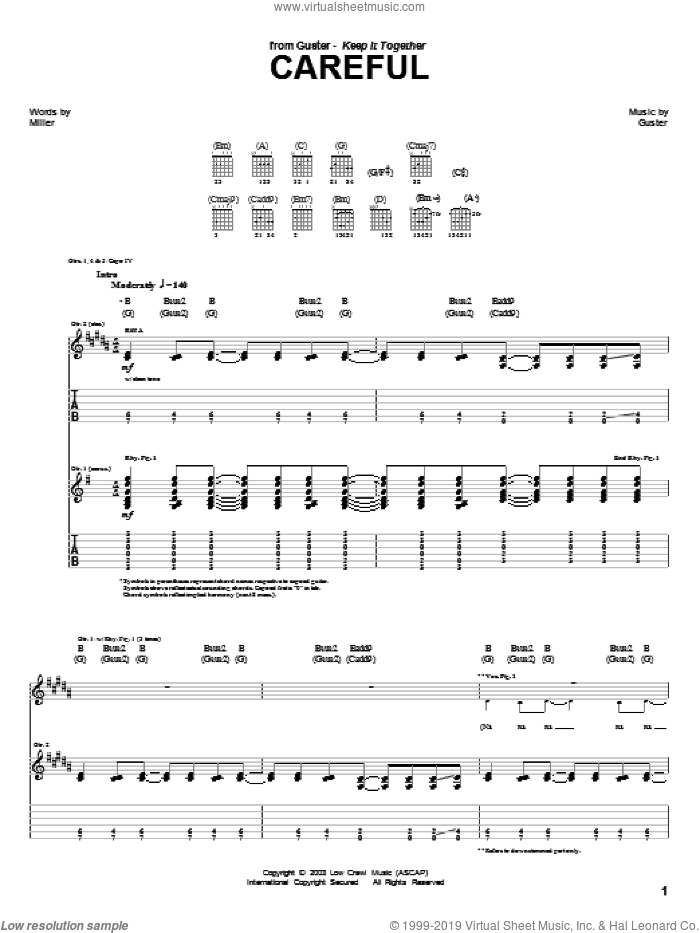 Careful sheet music for guitar (tablature) by Guster. Score Image Preview.