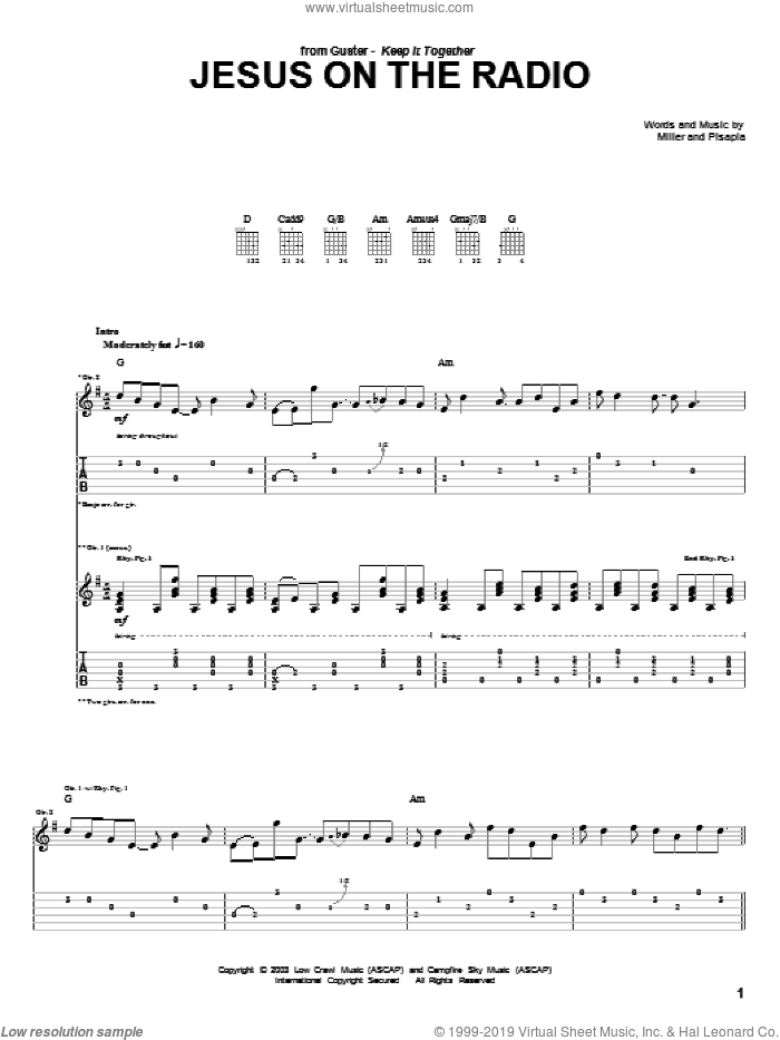 Jesus On The Radio sheet music for guitar (tablature) by Guster. Score Image Preview.