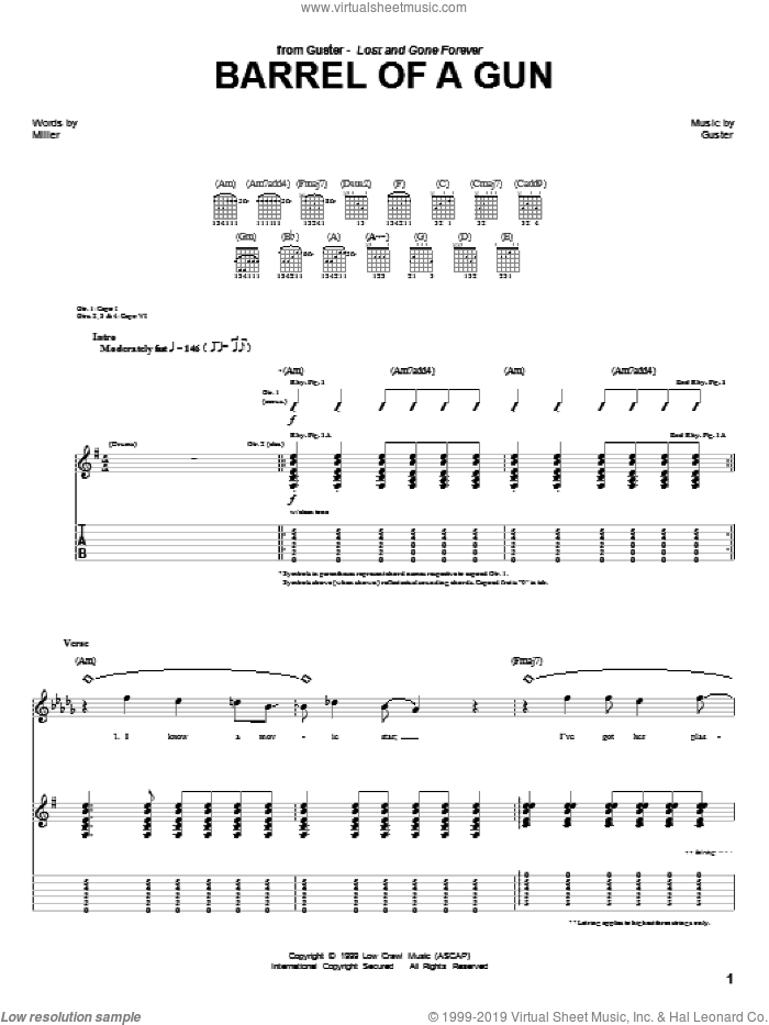 Barrel Of A Gun sheet music for guitar (tablature) by Guster. Score Image Preview.