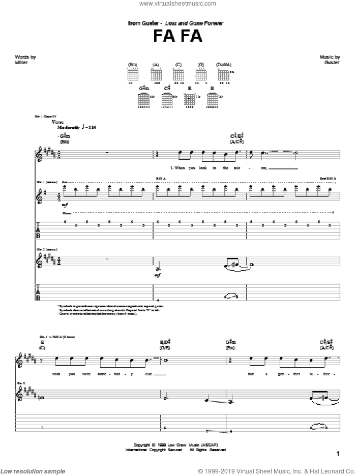 Fa Fa sheet music for guitar (tablature) by Guster, intermediate