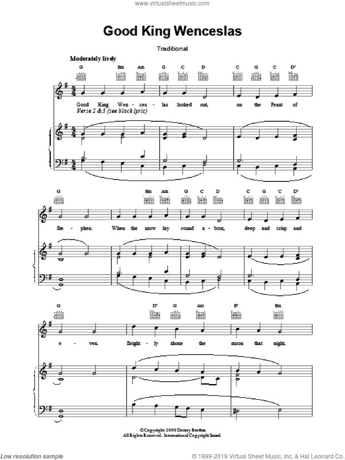 Good King Wenceslas sheet music for voice, piano or guitar by John Mason Neale, intermediate skill level