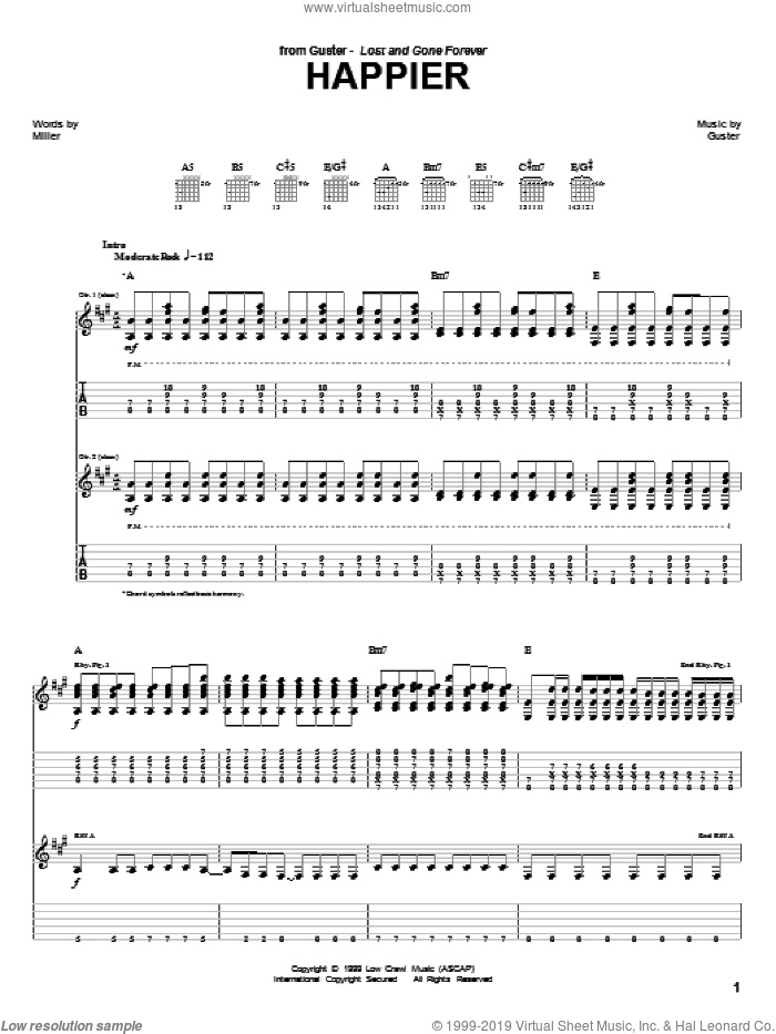 Happier sheet music for guitar (tablature) by Guster. Score Image Preview.