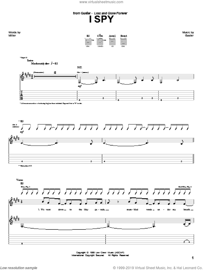 I Spy sheet music for guitar (tablature) by Guster. Score Image Preview.