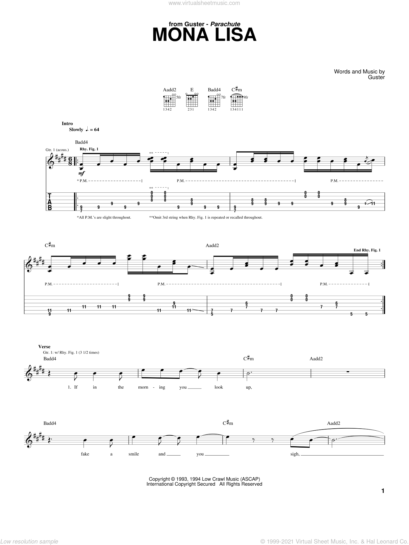 Mona Lisa sheet music for guitar (tablature) by Guster, intermediate guitar (tablature). Score Image Preview.