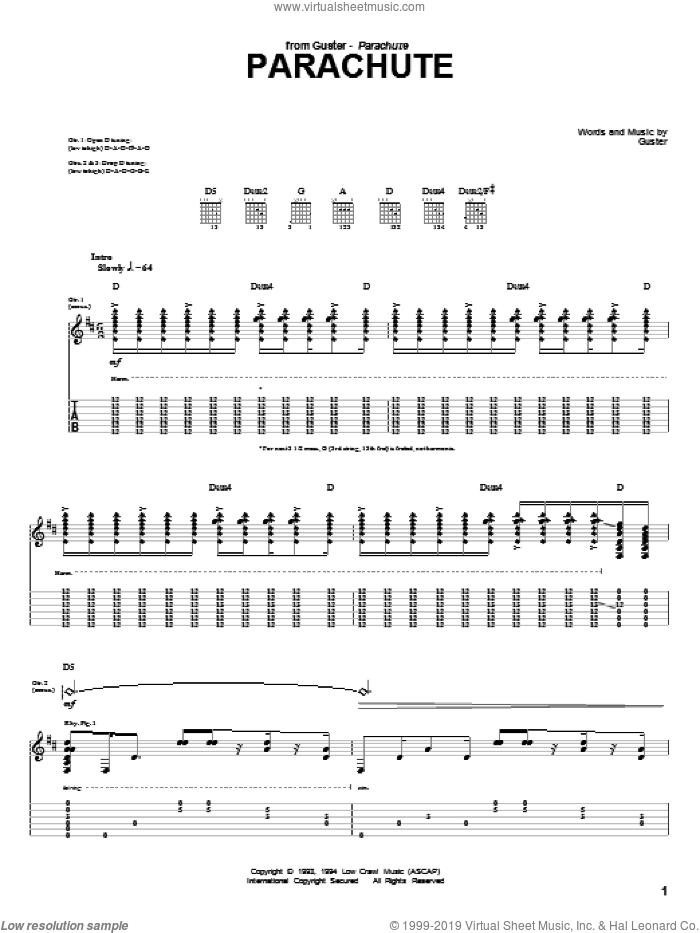 Parachute sheet music for guitar (tablature) by Guster, intermediate. Score Image Preview.