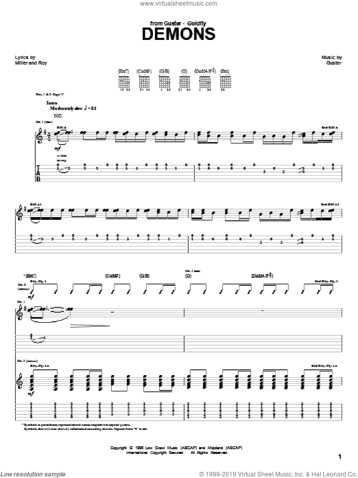 Demons sheet music for guitar (tablature) by Guster and Roy, intermediate skill level