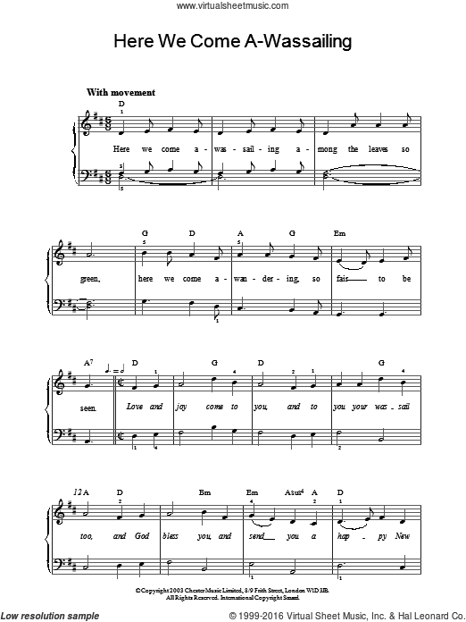 Here We Come A-Wassailing sheet music for piano solo. Score Image Preview.