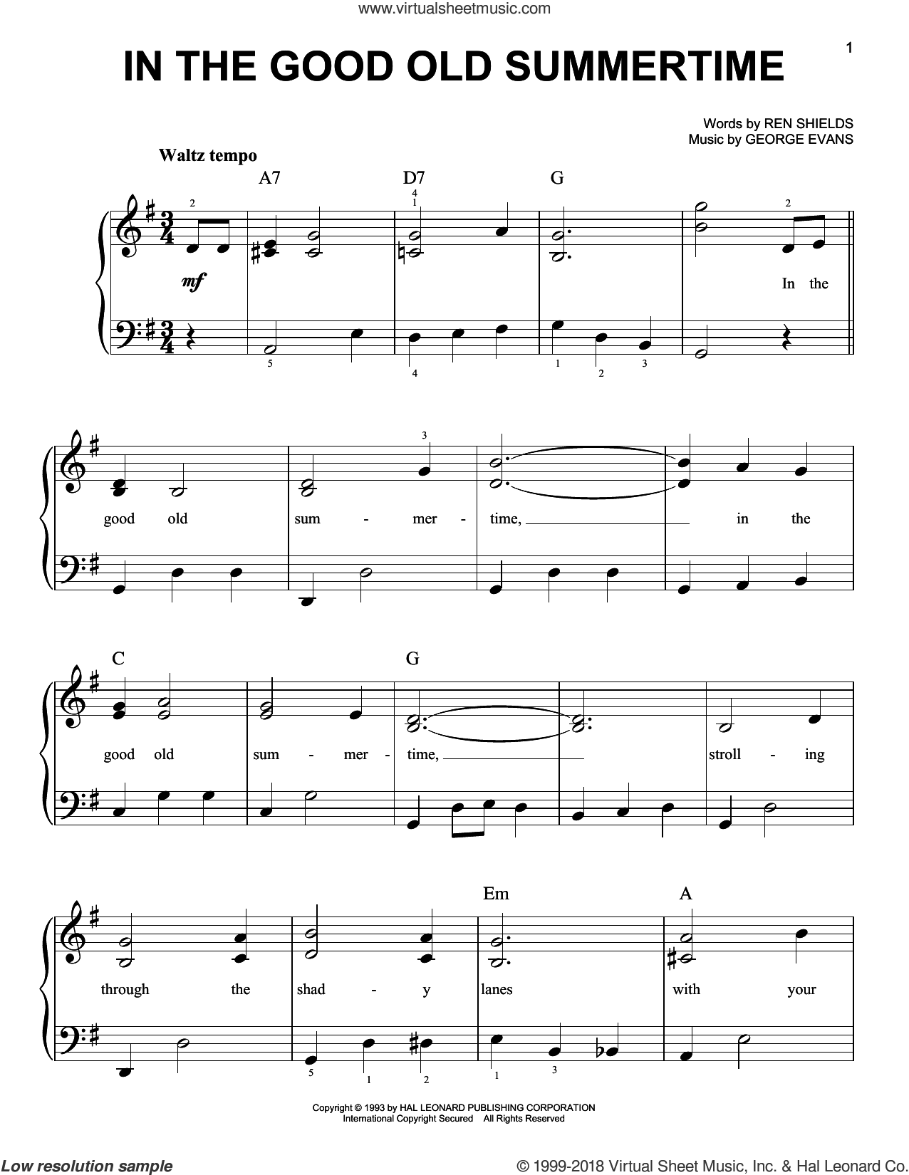 In The Good Old Summertime sheet music for piano solo by Ren Shields and George Evans, easy skill level