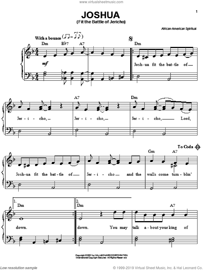 Joshua (Fit The Battle Of Jericho) sheet music for piano solo. Score Image Preview.