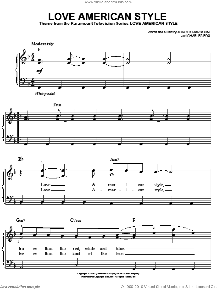 Love American Style sheet music for piano solo by Arnold Margolin and Charles Fox, easy skill level