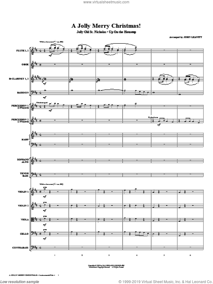 A Jolly Merry Christmas (COMPLETE) sheet music for orchestra/band (chamber ensemble) by John Leavitt and Miscellaneous, intermediate. Score Image Preview.