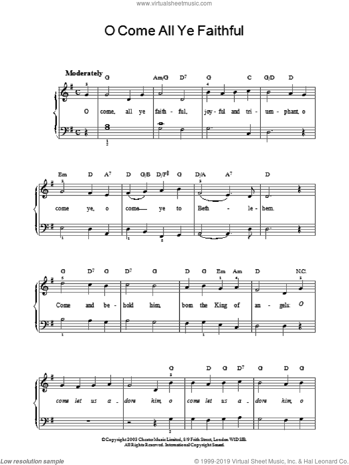 O Come, All Ye Faithful (Adeste Fideles) sheet music for piano solo by John Francis Wade and Miscellaneous. Score Image Preview.