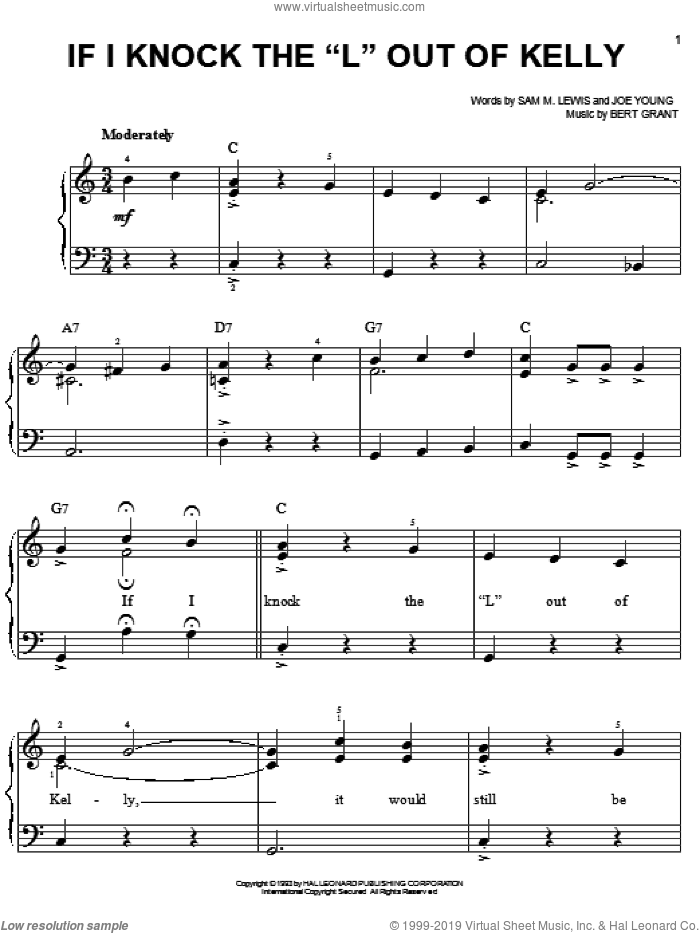 If I Knock The 'L' Out Of Kelly sheet music for piano solo by Sam Lewis, Bert Grant and Joe Young, easy. Score Image Preview.