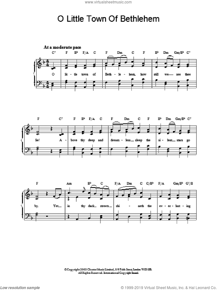 O Little Town Of Bethlehem, (easy) sheet music for piano solo by Phillips Brooks, easy skill level