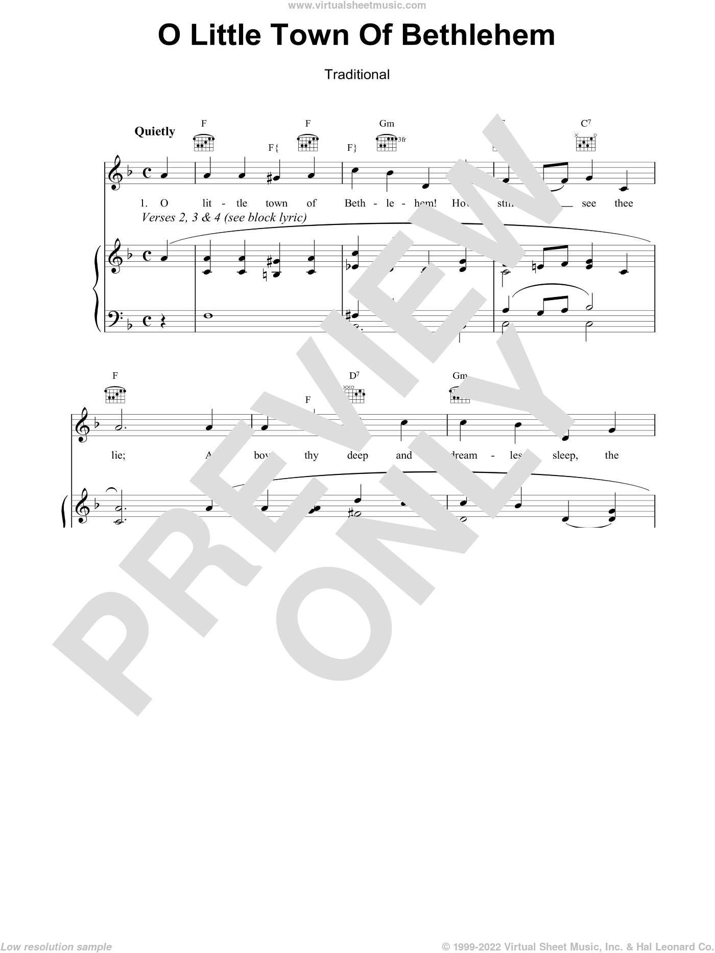 O Little Town Of Bethlehem sheet music for voice, piano or guitar by Phillips Brooks. Score Image Preview.