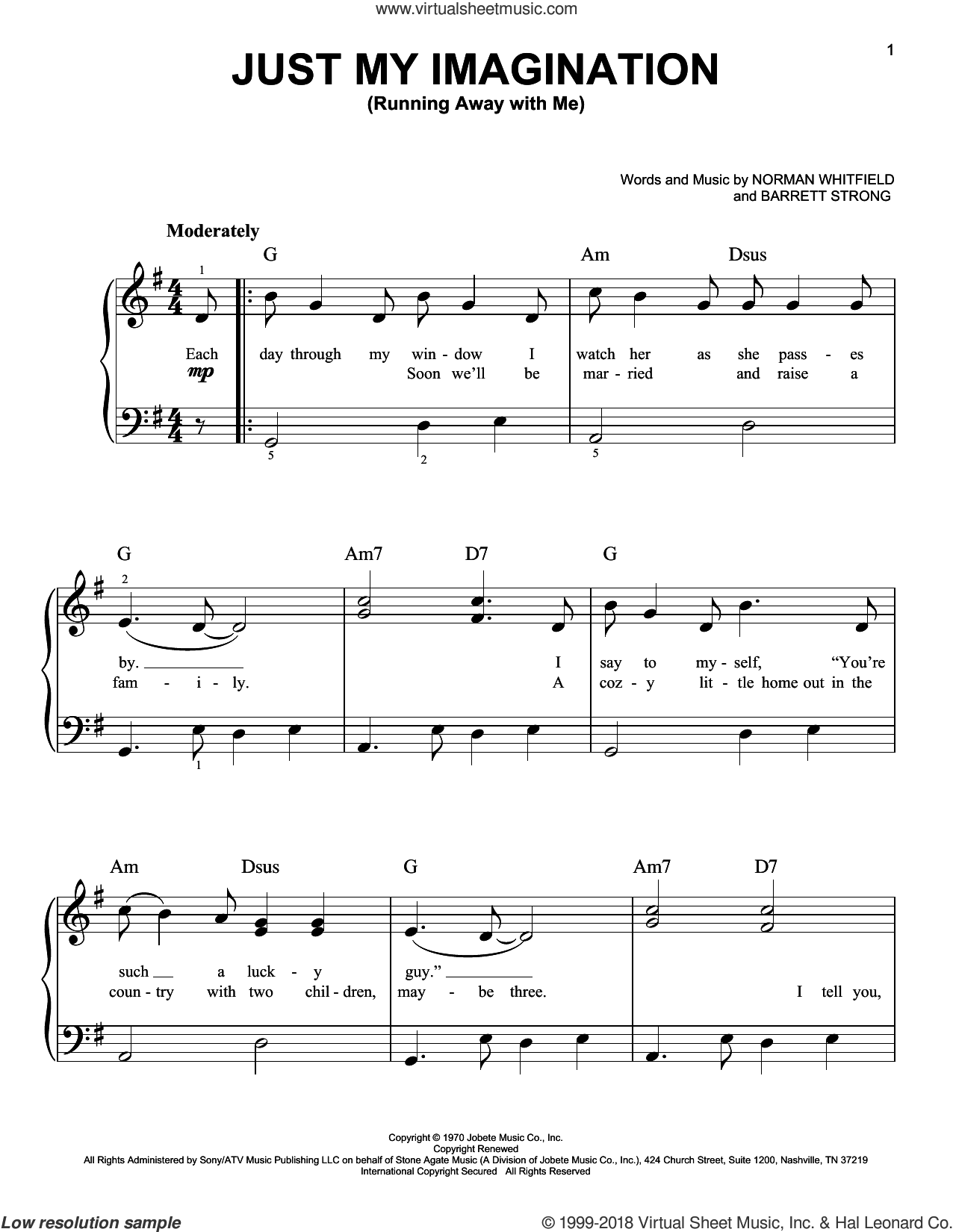 Just My Imagination (Running Away With Me) sheet music for piano solo by Norman Whitfield, The Temptations and Barrett Strong. Score Image Preview.