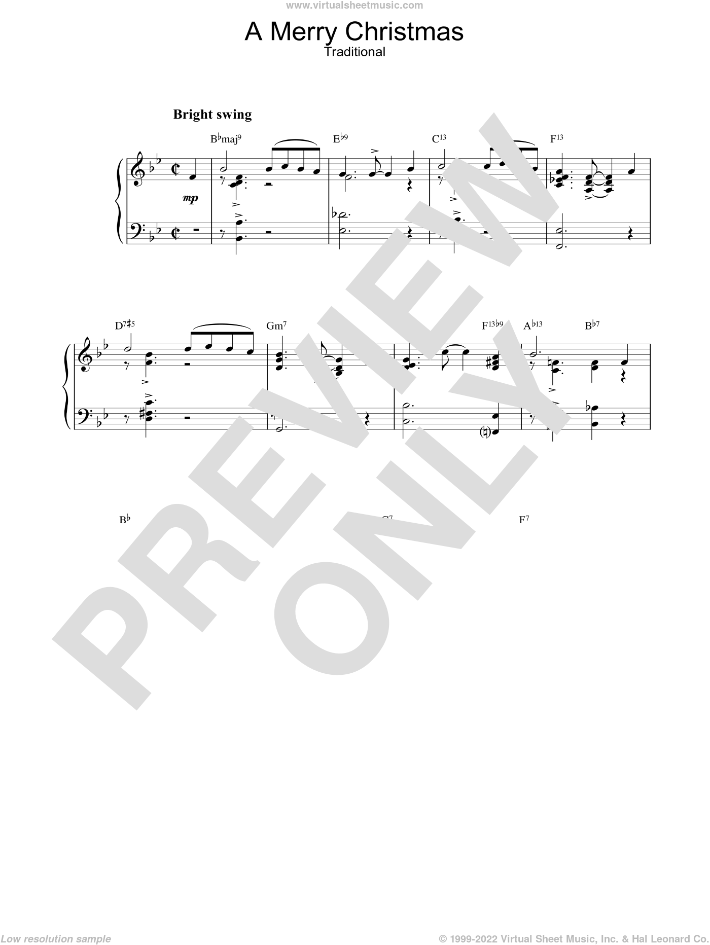 A Merry Christmas sheet music for piano solo, intermediate skill level