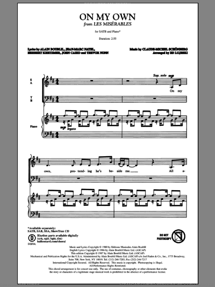 On My Own sheet music for choir and piano (SATB) by Alain Boublil
