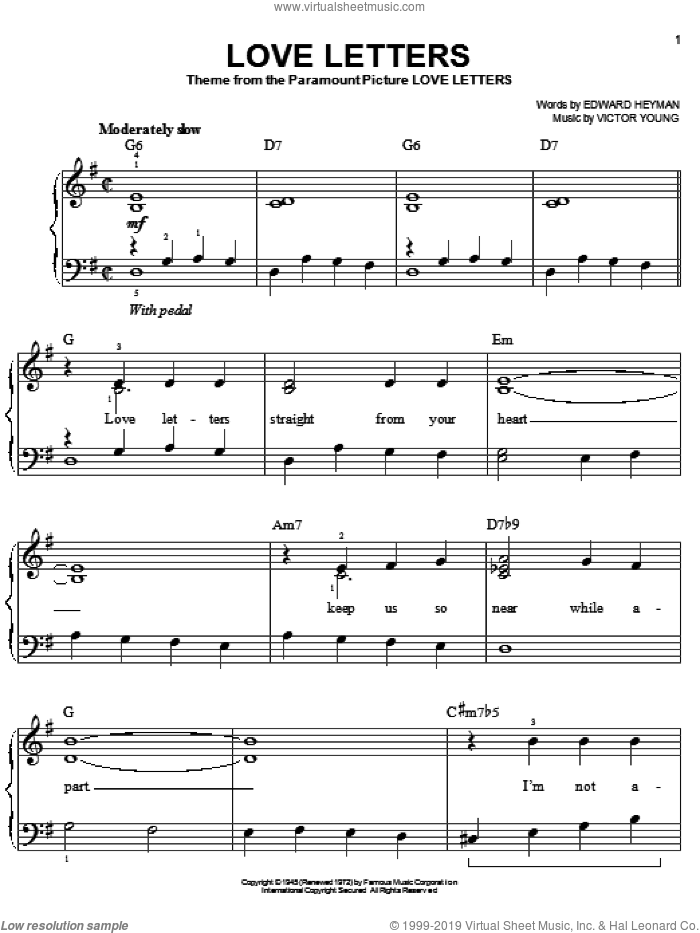 Love Letters sheet music for piano solo by Edward Heyman, Diana Krall, Elvis Presley and Victor Young, easy skill level