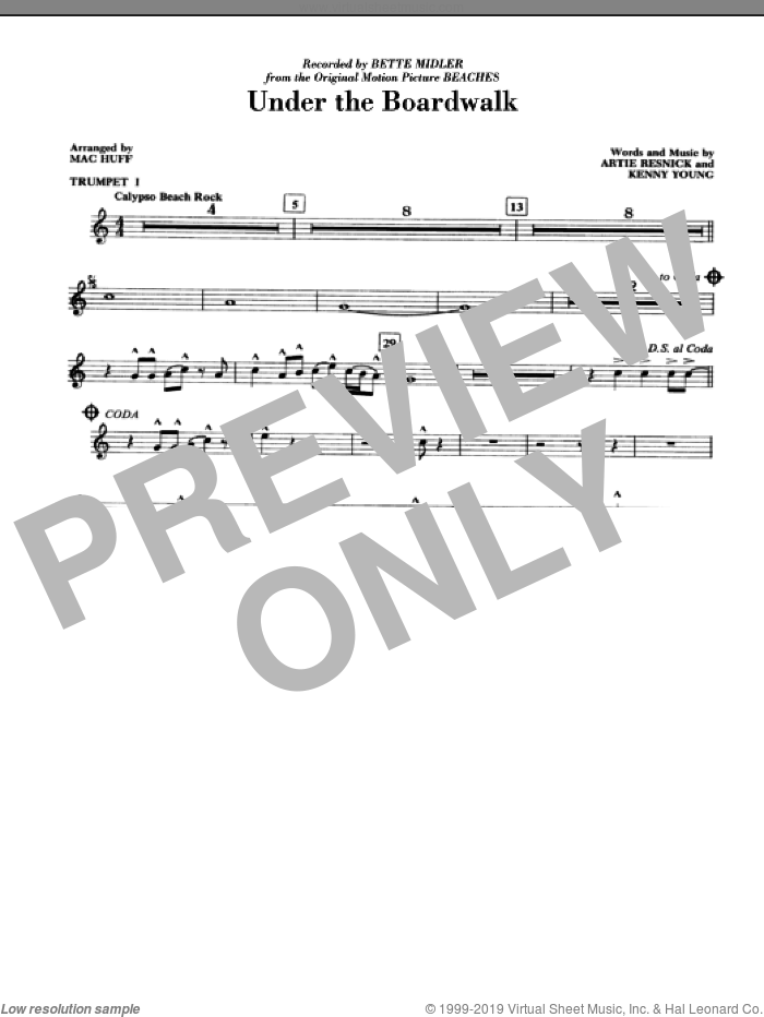 Under The Boardwalk (complete set of parts) sheet music for orchestra/band by Mac Huff, Artie Resnick, Bette Midler, Kenny Young and The Drifters, intermediate skill level