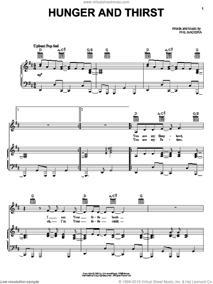 Hunger And Thirst sheet music for voice, piano or guitar by Phil Madeira and Susan Ashton. Score Image Preview.