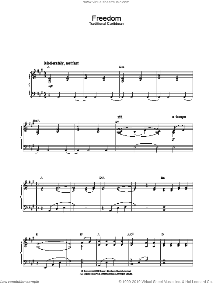 Freedom sheet music for piano solo. Score Image Preview.